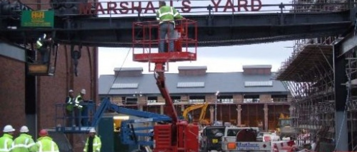 Restored rope crane back at Marshall's Yard