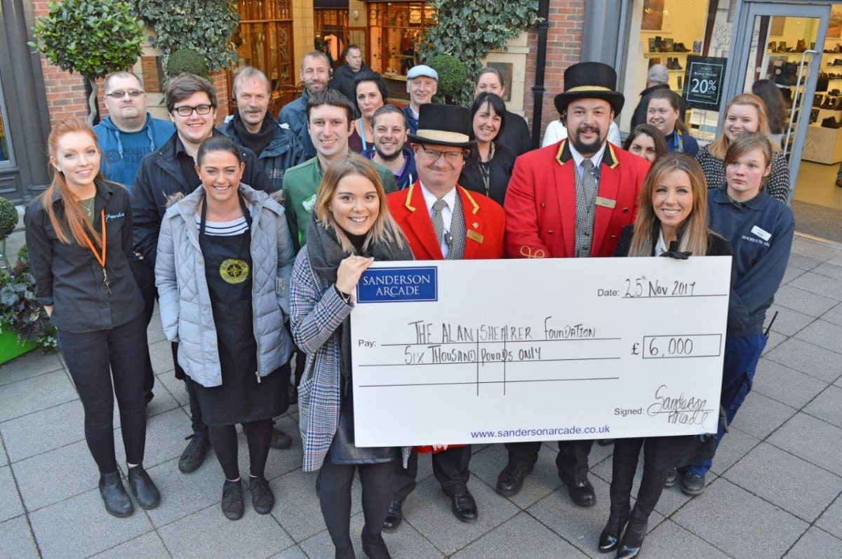 Sanderson Arcade team net �000 for Alan Shearer Foundation