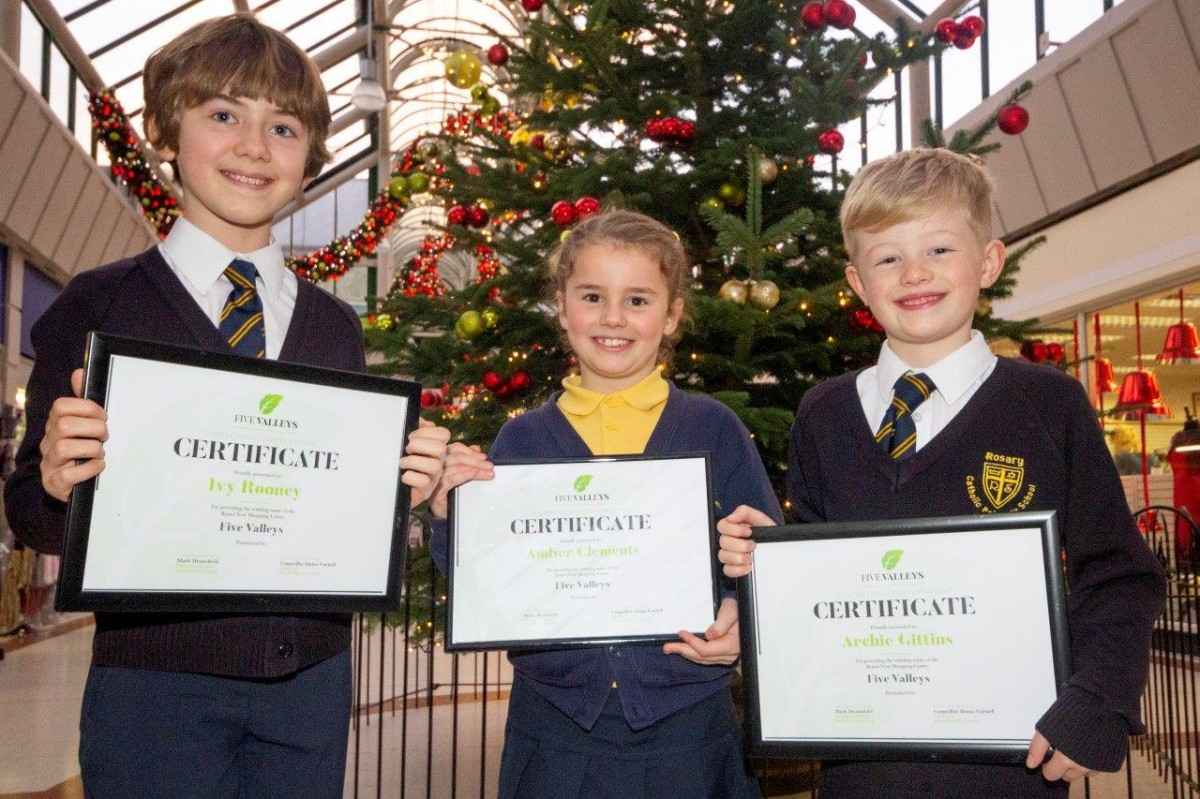 Competition winners attend prize giving at Stroud shopping centre