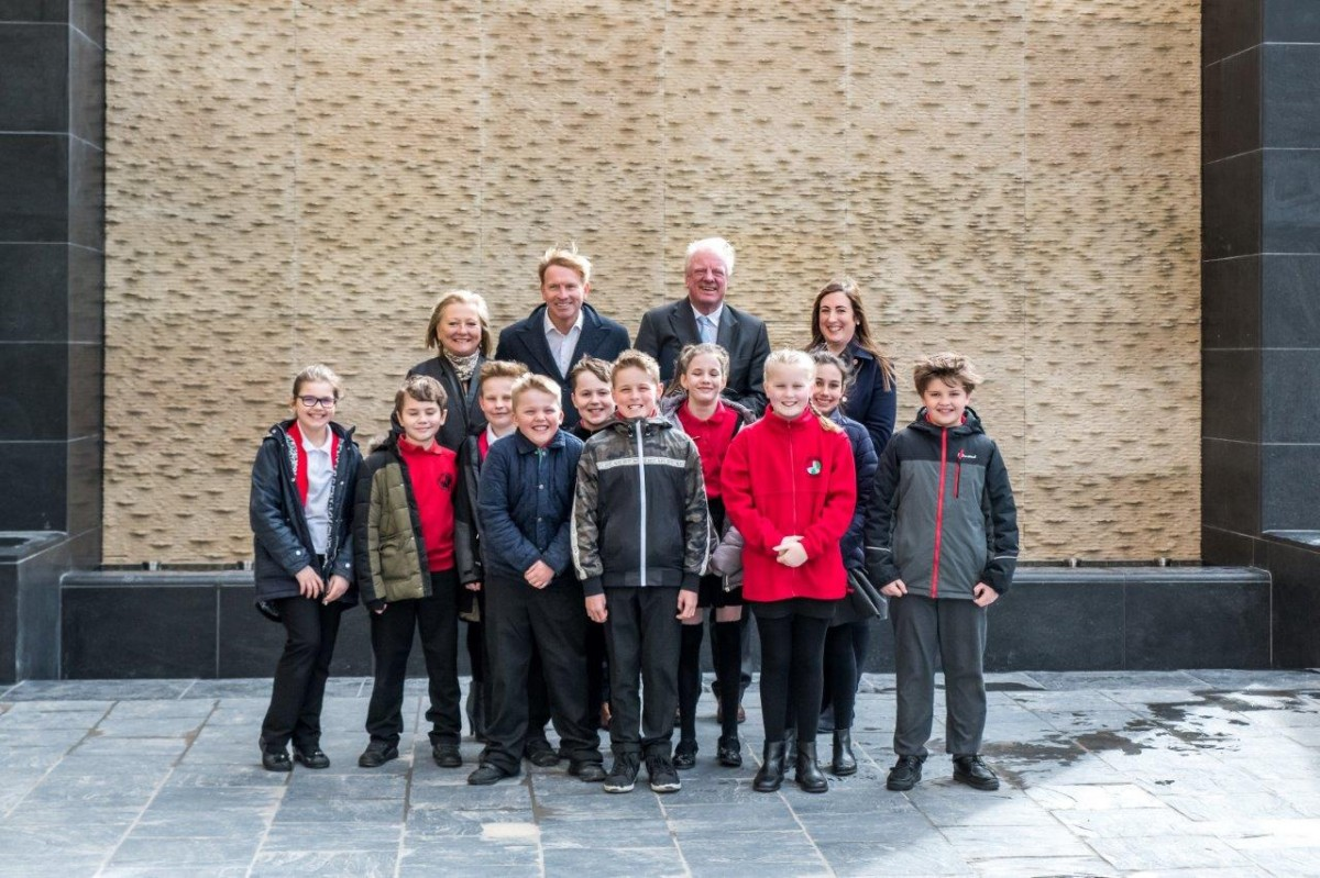 Water wall feature is switched on in Gainsborough